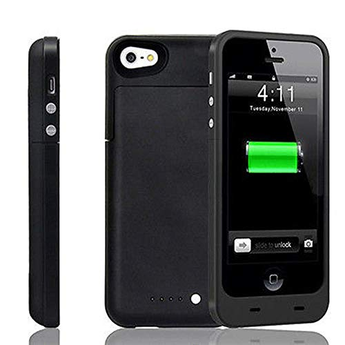 iPhone 5 5S SE Battery Case, NOVPEAK Ultra Slim Rechargeable Backup Battery Charger Case Compatible wit iPhone 5 5S SE - Portable Power Bank Pack Compatible with iPhone 5/5S/SE [2500mAh, Black]