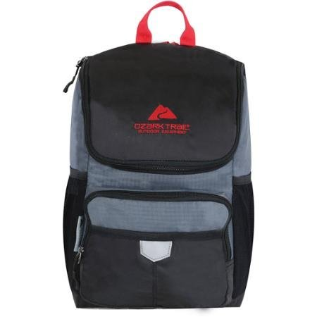 Ozark Trail 24-Can Thermal Insulated Cooler Backpack, Black/Gray