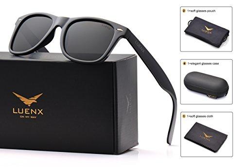 55d23077d745 LUENX Mens Wayfarer Sunglasses Polarized Womens  UV 400 Protection ...