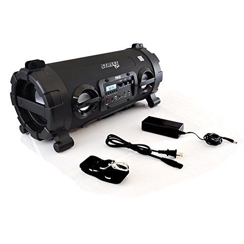 Outdoor Wireless BoomBox Stereo System - 100W Portable Bluetooth Compatible Rechargeable Speaker w/ FM Radio USB / MP3 Player Aux, 1/4' IN LED Lights - Microphone Remote Audio Cable - Pyle PBMSPG130BK