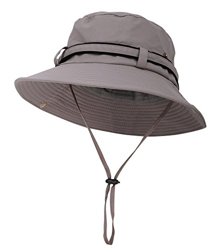 Safari Fishing Hat Water Resistant Outdoor Bonnie with Adjustable Chin Strap,Dark Gery