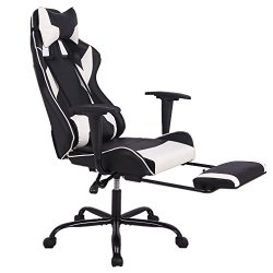 Office Chair Gaming Chair Ergonomic Swivel Chair High Back Racing Chair, with Footrest Lumbar Support and Headrest