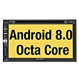 PUMPKIN Android 8.0 Car Stereo Double Din with DVD Player, GPS Navigation, WiFi, Support Fastboot, Backup Camera, Android Auto, AUX, USB SD, 7 inch Touch Screen