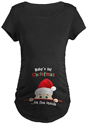 ffd6f141af756 LUKYCILD Maternity Cute Funny Tee Short Sleeve Christmas Pregnancy  Announcement T shirt