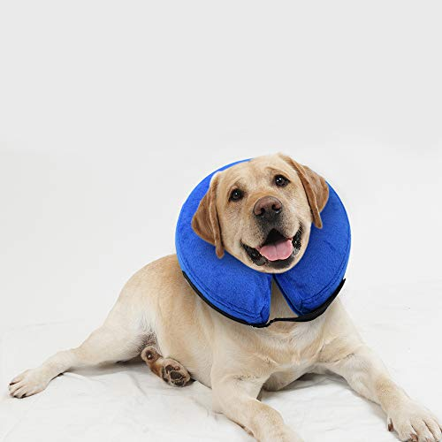E-KOMG Dog Cone After Surgery, Protective Inflatable Collar, Blow Up Dog Collar, Pet Recovery Collar for Dogs and Cats Soft (L)
