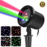 SUNYAO 3 Color Motion Laser Christmas Lights Projector with RF Remote,Outdoor Garden Laser Lights Moving RGB Stars Show for Christmas (RGB Motion)