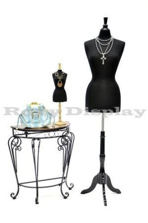 (JF-FWPB-4+BS-02BKX) Roxy Display New Black Female Dress Form Body Form with Base and Necktop Size 2-4 34″ 22″ 34″