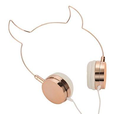 SOMOTOR-Wired-Headphone-Cool-Devil-Ox-Ear-Cute-Headphone-On-Ear-Rose-Gold