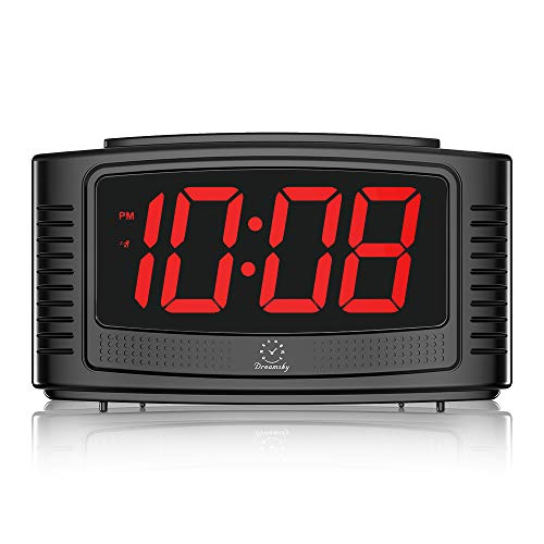 DreamSky Little Digital Alarm Clock with Snooze, 1.2' Clear Led Digit Display with Dimmer, Simple to Operate, Plug in Clock for Bedroom. (Black+red)