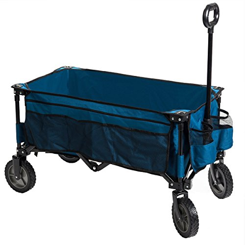Timber Ridge Folding Camping Wagon, Garden Cart, Collapsible, Blue