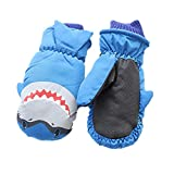 Eshall Kids Ski Gloves Waterproof and Breathable Winter Full-Finger Warm Mittens for Boys Girls Skiing Snowboarding Skating Hiking Cycling (4-8yrs, Blue)