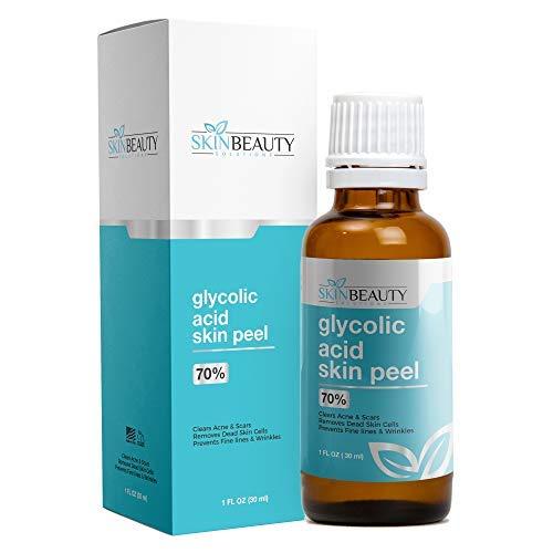 GLYCOLIC Acid 70% Skin Chemical Peel - Unbuffered - Alpha Hydroxy (AHA) For Acne, Oily Skin, Wrinkles, Blackheads, Large Pores,Dull Skin (1oz/30ml)
