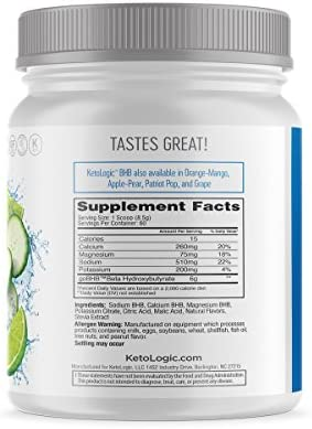 KetoLogic Keto BHB Exogenous Ketones Powder Supplement: Cucumber Lime (60 Servings) - Boosts Ketosis, Increases Energy & Focus, Suppresses Appetite – Supports Keto Diet & Weight Management 4