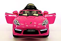 Porsche Boxster Style 12V, 2 Motors Kids Ride-On Car MP3+USB Player, Battery Powered Wheels RC Parental Remote + 5 Point Safety Harness | Pink
