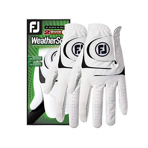 FootJoy Men's WeatherSof 2-Pack Golf Glove White Medium, Worn on Left Hand