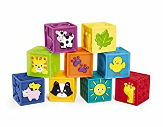 Each block features a different bright and enticing color that your baby will love. They have an embossed animal, shape or character on one side to help with recognition. The other sides have textured shapes for six sides of sensory development for y...