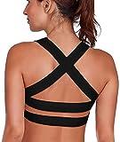 SHAPERX Women's Sports Bra Padded Breathable High Impact Support Criss Cross Back Yoga Gym Bras, SZ143-Black-XL