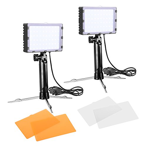 Emart 60 LED Continuous Portable Photography Lighting Kit for Table Top Photo Video Studio Light Lamp with Color Filters – 2 Sets