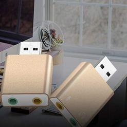 41x0Tl1nJgL - Panamami External Sound Card USB to Earphone Headphone Microphone Jack USB Adapter Audio Card for Laptop Computer Sound Card Gold