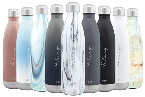 Simple Modern Personalized 25oz Custom Wave Water Bottle - Gifts for Men & Women Custom Laser Engraved Name - Double Wall Vacuum Insulated - Leakproof Pattern: Carrara Marble