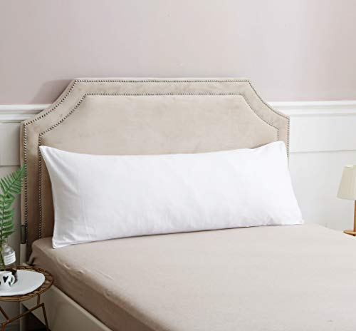 White Body Pillow Cover 100% Long Staple Cotton 200 Thread Count Body Pillowcase with Envelope Closure Fits 20' x 52' or 20' x 54' Body Pillow for Adults and Pregnant Women (White, 20' x 54')