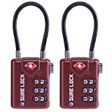 TSA Compatible Travel Luggage Locks, Inspection Indicator, Easy Read Dials - 1, 2 & 4 Pack (Large, BROWN 2 PACK)