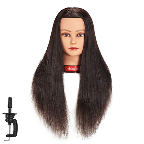 24'-26' 100% Human Hair Mannequin Head Training Head Cosmetology Manikin Head Doll Head with Free Clamp (black)