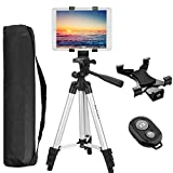 Peyou Tablet Tripod, 42' inch Portable Lightweight Adjustable Aluminum Camera Tablet Tripod + Universal Mount Tablet Holder + Wireless Remote Shutter Compatible for iPad Samsung Kindle Fire Tablet