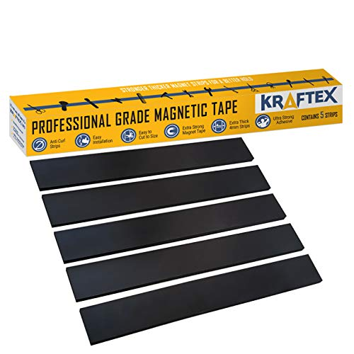 Magnetic Tape [Extra Strong Premium Grade] Magnet Strips with New Super Strong Adhesive Backing for Walls, Boards, Crafts, Storage, DIY, Home, Garage and Displays [Heavy Duty Thicker Roll] 32mm Wide