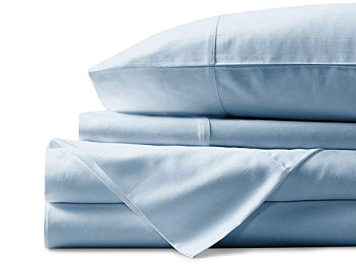 Mayfair Linen 100% Egyptian Cotton Sheets, Sky Blue King Sheets Set, 800 Thread Count Long Staple Cotton, Sateen Weave for Soft and Silky Feel, Fits Mattress Upto 18'' DEEP Pocket