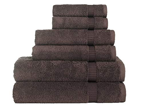 SALBAKOS 6 Piece Bath Towel Set - Turkish Luxury Hotel & Spa Collection - OEKO-TEX Organic - Eco-Friendly Turkish Cotton (Chocolate)