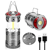 Speclux Rechargeable LED Camping Lantern 3 in 1 Outdoor Waterproof Flashlight, High Lumen, Collapsible and Portable with Magnetic Base and Hooks, Perfect for Night Camp, Emergency, Hiking (2pcs)