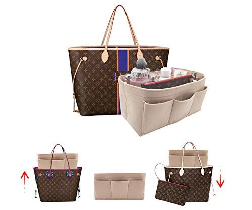 LEXSION Felt Handbag Organizer,Insert purse organizer Structure Shaper fits Speedy 8001 Beige M