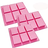 HOSL 3 Pack 6-Cavity Plain Basic Rectangle Silicone Mould For Homemade Craft Soap Mold, Cake Mold, Ice Cube Tray