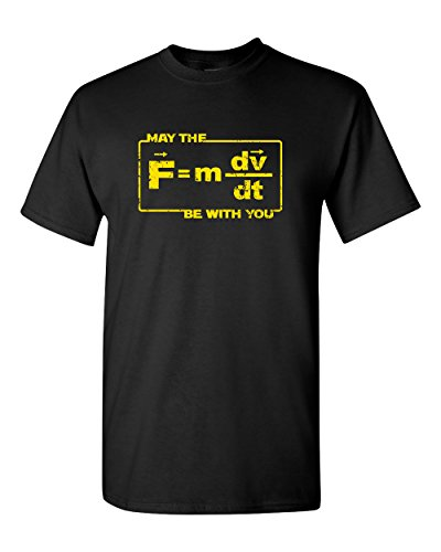 Thread Science May The Force Be with You Funny Space Star Astronomy Astrology Pun Physics Humor Formula Adult Mens Graphic T-Shirt Apparel Tee Black(2XL)