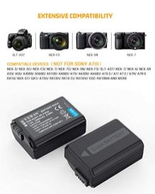 NP-FW50-YXWIN-Camera-Battery-Charger-Set-and-Batteries-for-Sony-A6000-A6500-A6300-A7-A7II-A7RII-A7SII-A7S-A7S2-A7R-A7R2-A5100-RX10-Accessories-2-Pack-USB-C-Micro-USB-Ports-1200mAh