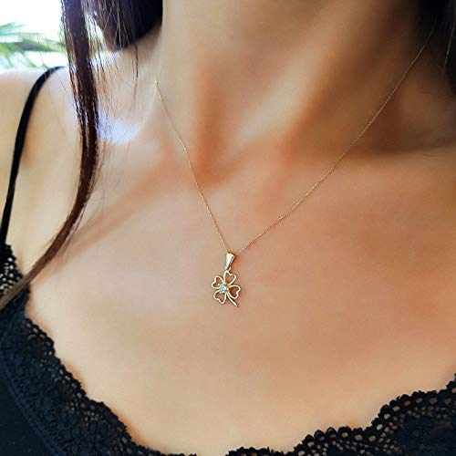 Beautiful Girl with a Four Leaf Clover Pendant