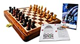 THE WILSWANK 12 x 12 Inch Premium Foldable Magnetic Chess Set with Free Chess Bag and Strategy Guide Book (How to Play Chess)