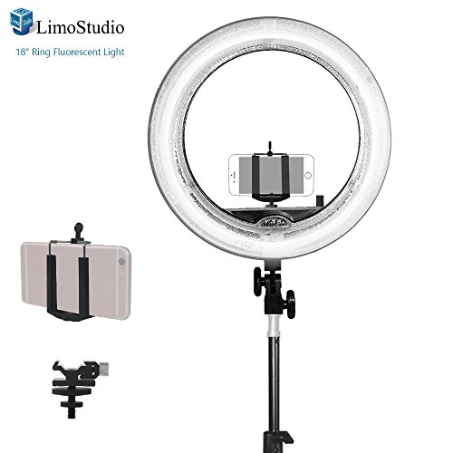 Limo18 Inch Fluorescent Ring Light 5500K Dimmable With Cell Phone Holder Clamp Clip