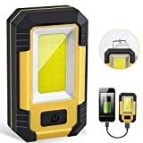 Portable LED Work Light, Rechargeable Waterproof Flood Light, COB Light with Magnetic Base Hanging Hook, 30W 1200LM for Outdoor Camping Fishing Hiking Emergency Car Repairing Job Lighting