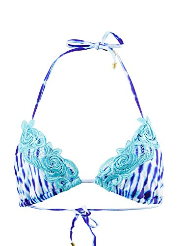 Triangle bikini top with adjustable sliding cups Applique detail trim Adjustable ties at the neck and back