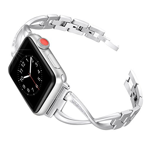 Secbolt Stainless Steel Band Compatible Apple Watch Band 38mm 40mm Women Iwatch Series 4, Series 3, Series 2 1 Accessories Metal Wristband X-Link Sport Strap, Silver