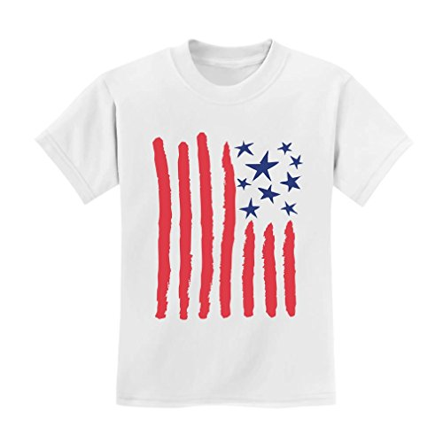 Children's Drawing USA Flag - 4th of July American Flag Kids T-Shirt 3T White