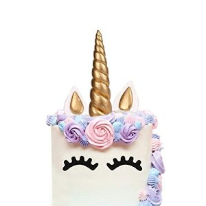 AIEX Unicorn Cake Topper Handmade Gold Birthday Cake Topper, Unicorn Horn, Ears and Eyelash Cake Decorations, Cute Unicorn Birthday/Baby Shower/Holiday Party Cake Decoration(5 Pieces) 41xPibZ5w 2BL
