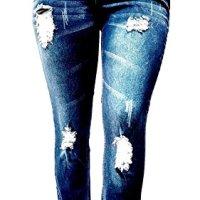 Jack David Womens Plus Size Ripped Destroy Blue Denim Roll up Distressed Jeans Pants