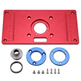 Router Table Insert Plate Board Red Aluminum Universal Trimming Machine Flip Board for Woodworking, 62x70mm