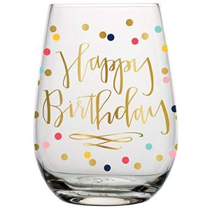 Slant 657284504849 10-03942-001 Glass-20 oz Happy Stemless Wine Glass (Multicolor Confetti, Perfect Birthday Gift), Clear 41xVJ 2Bj 2BH0L
