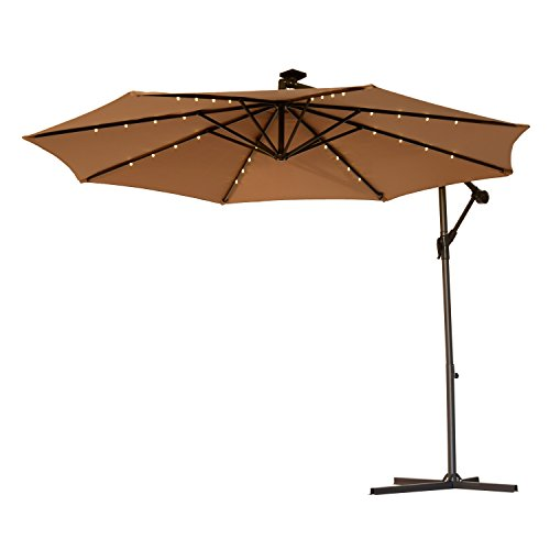 Outsunny 10' Steel Outdoor Offset Tilt Patio Umbrella with Solar LED Lights (Latte/Light Brown)