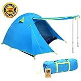 Weanas Professional Backpacking Tent 2 3 4 Person 3 Season Weatherproof Double Layer Large Space Aluminum Rod for Outdoor Family Camping Hunting Hiking Adventure Travel (Extra Size Azure, 3-4 Person)