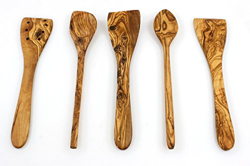 Tramanto Olive Wood Spatulas Turner And Spoons Cooking Utensil Set 12 Inches Corner Spoon Round Spoon Curved Spatula Flat Spatula And Slotted
